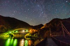 みずがき湖からの鹿鳴峡大橋&紅葉&カシオペア座
