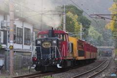 天竜寺踏切にてトロッコ列車