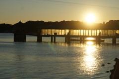 浜名湖の朝陽