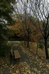 池田城跡のベンチ