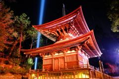冷え込む夜と照らされる石山寺1