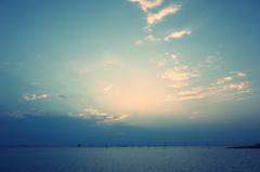 江川海岸、夕暮れ時
