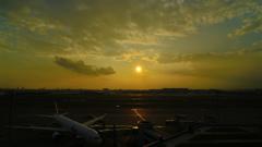 羽田空港からの夕日