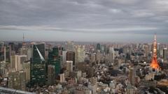 六本木ヒルズスカイデッキから見た 東京タワーとスカイツリー