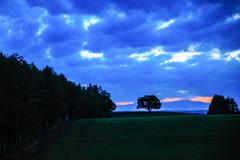 青い雲と かすかな日の出の光り
