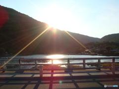 京都 嵐山 渡月橋からの夕日