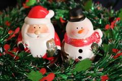 小物(クリスマス) サンタと雪だるま