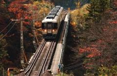 紅葉が彩る鉄橋