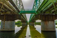 江戸川にかかる鉄道橋の下から
