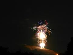 奈良若草山の山焼きの前を賑わす花火