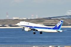 HND撮影3(A321離陸・流し撮り)
