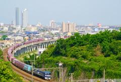 ゴールドタワーと貨物列車