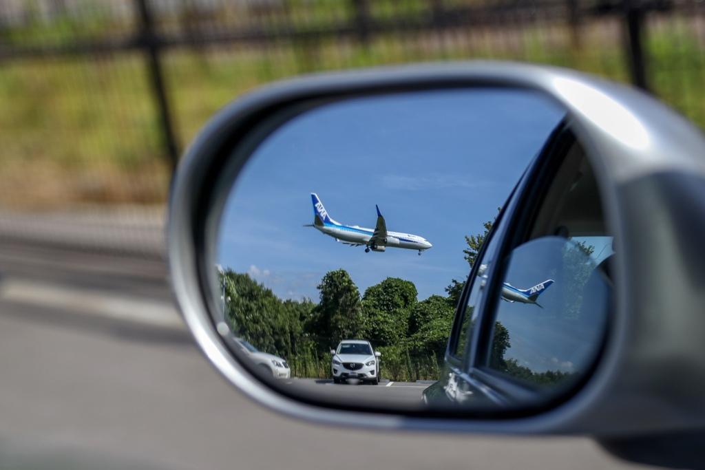 Airplane in Door mirror