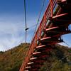 あゆのつり橋と錦秋の矢祭山
