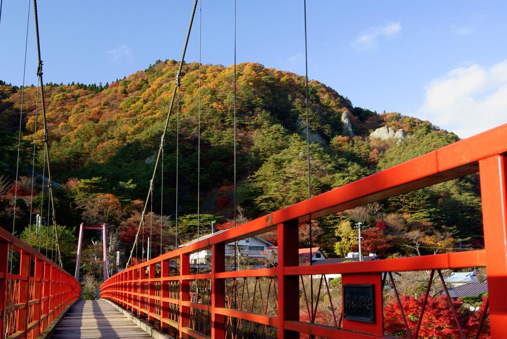 あゆのつり橋上からの錦秋の矢祭山