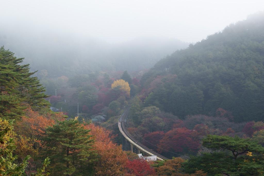 朝霧に包まれる秋の鉄橋