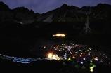 北アルプス テント夜景