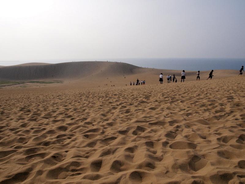 砂丘と修学旅行生