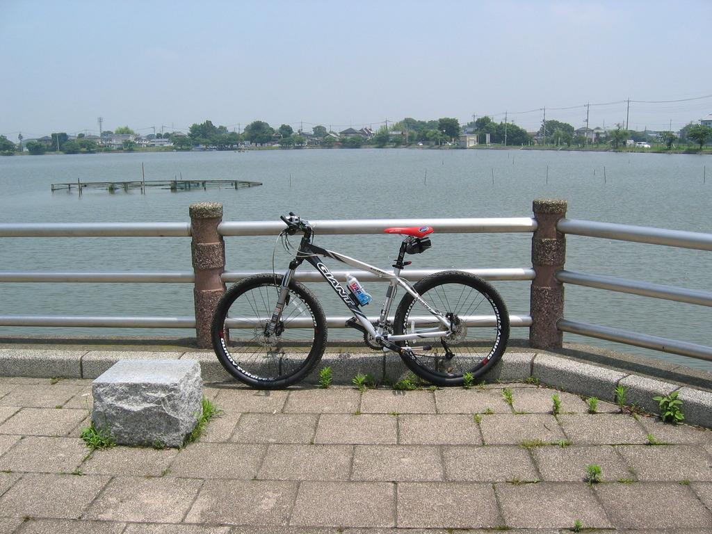 湖畔のMTB