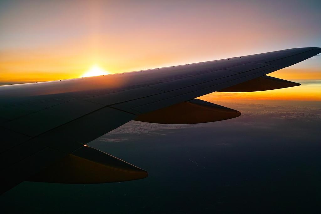 飛行機の上で2