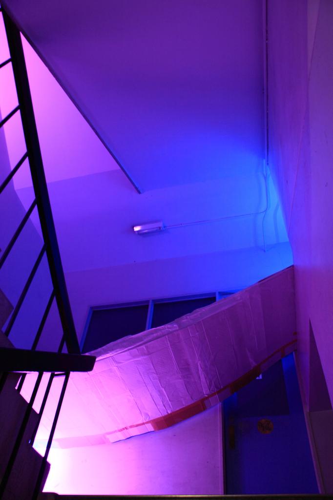 いつもの校舎も照明の工夫でこんなにもキレイ。