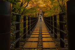 花貫渓谷③ オレンジに染まる橋