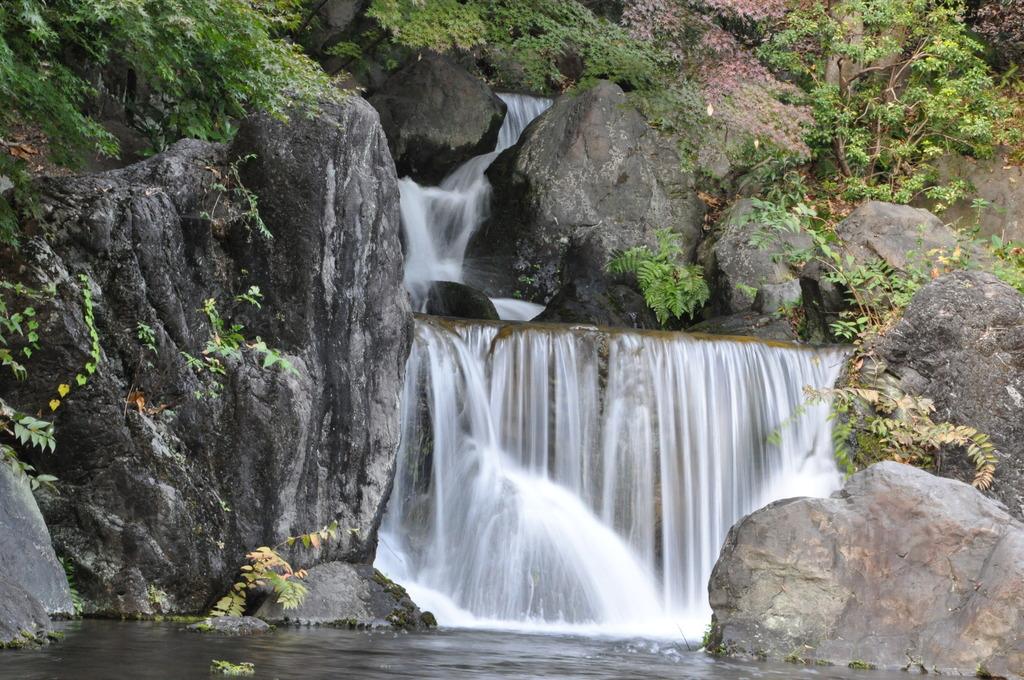 自然文化公園での滝