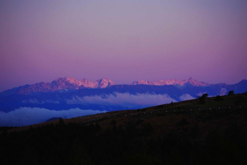 モルゲンロートの穂高連峰