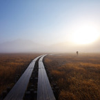 CANON Canon EOS 5D Mark IIで撮影した風景(朝霧の尾瀬ヶ原(登山者))の写真(画像)