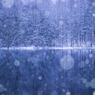 雪降る御射鹿池