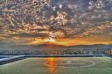 ヘリポートに沈む夕日