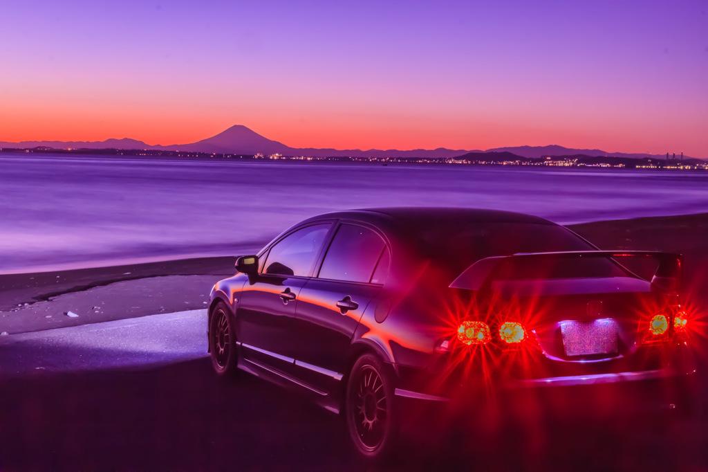 富士山を眺める