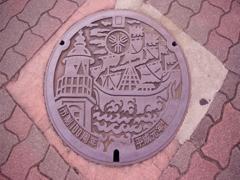 堺市のマンホールの蓋(市制100周年のバージョン)