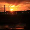 夕日と鉄橋