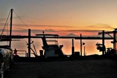 富士と船と夕焼けと