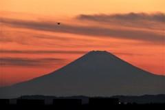 夕景富士…富津漁港から