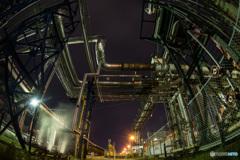Factory tour at night