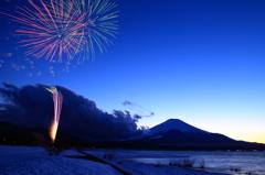 冬の花火(山中湖)