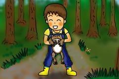 ヒキガエルを捕まえた少年