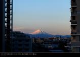 朝焼けに染められたピンクの富士山