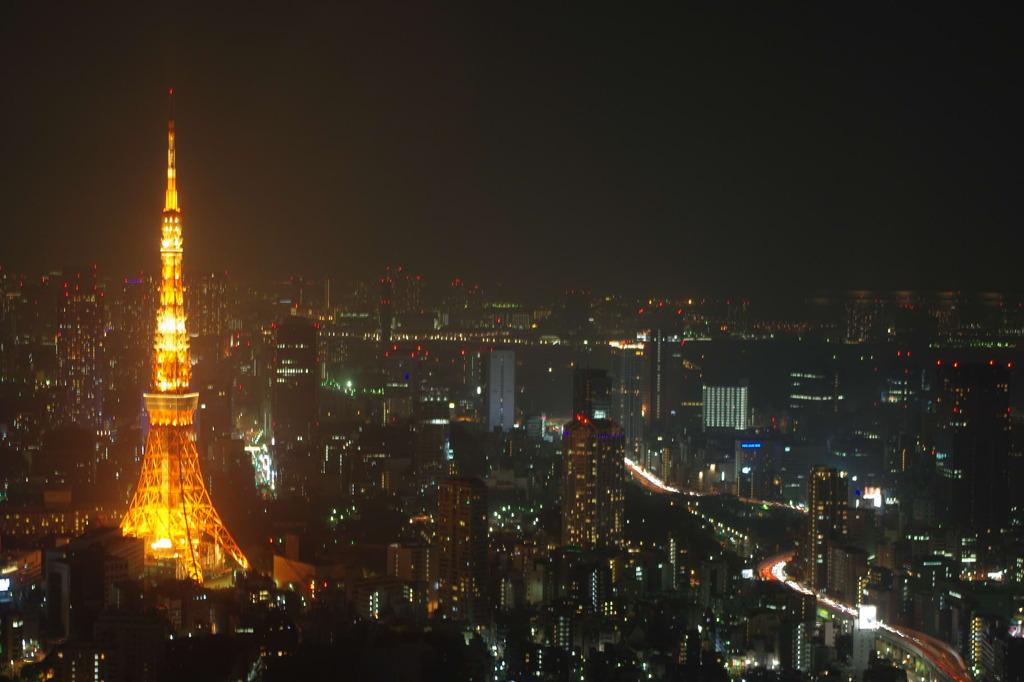 夜の東京とタワー