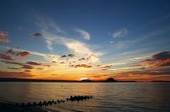 浜崎海岸の夕暮れ
