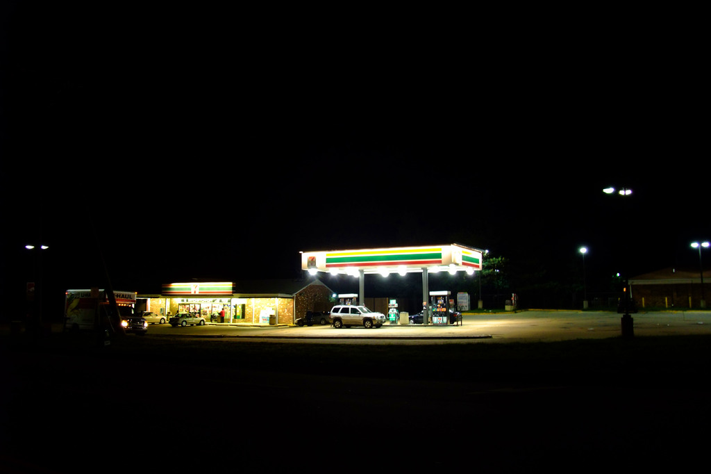 Gas Stand in the Night