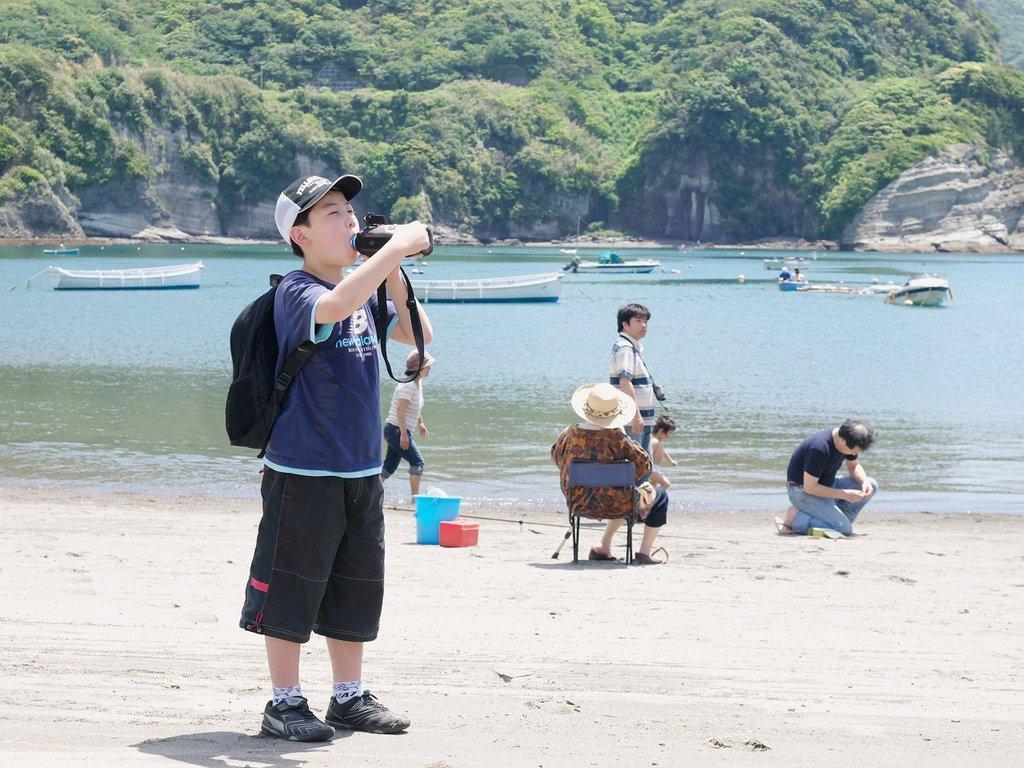 海辺で一息