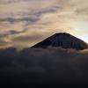 日没の富士山