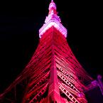 OLYMPUS E-3で撮影した建物(Pink ribbon in Tokyo tower )の写真(画像)