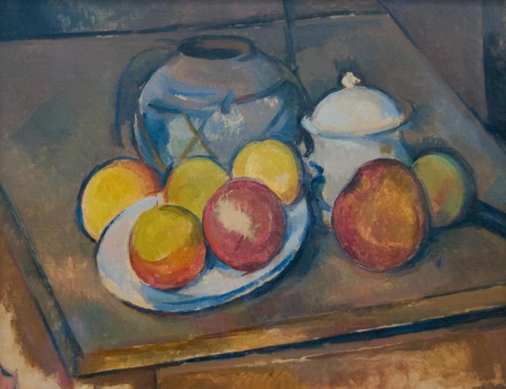 わら紐を巻いた壷、 砂糖壷、りんご / セザンヌ