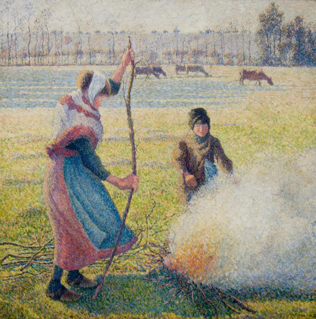 焚き火をする若い農婦、白い霜 / ピサロ