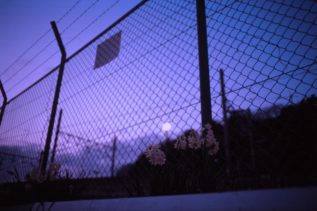 夕暮れの線路際