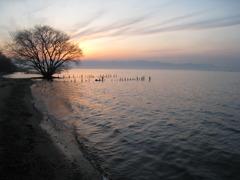 夕焼け(琵琶湖)